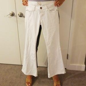 Current Elliott white denim crop pants